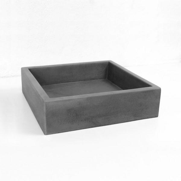Slab Square Concrete Basin in Mid Grey