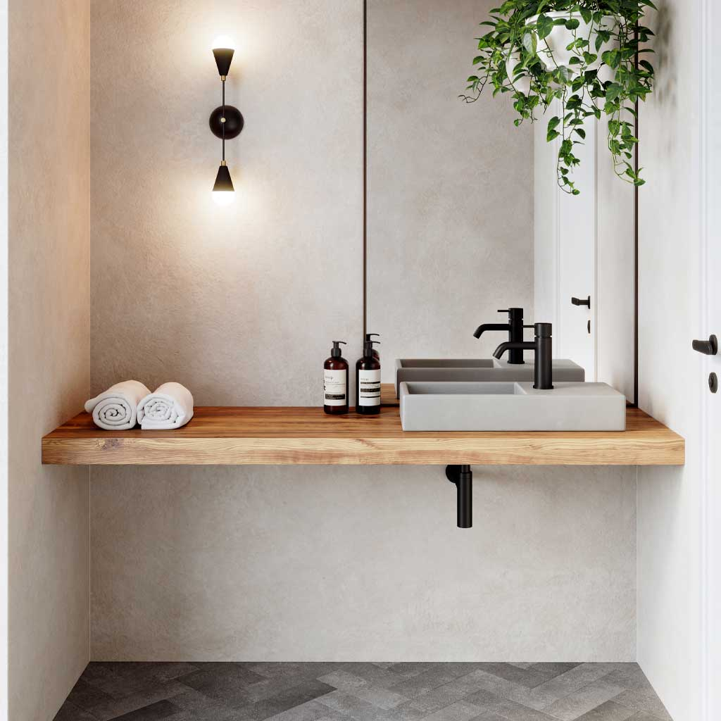 Weerlo compact concrete basin in a modern cloakroom