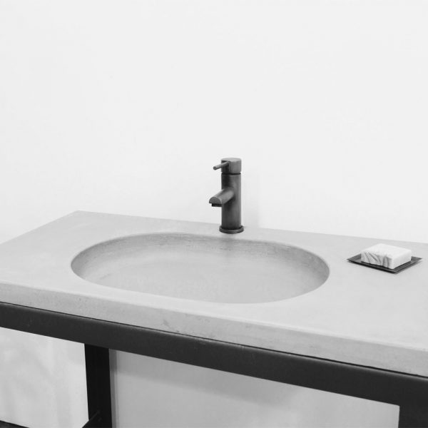 Oval concrete sink set into a vanity top - MARLEE by Concrete Studio