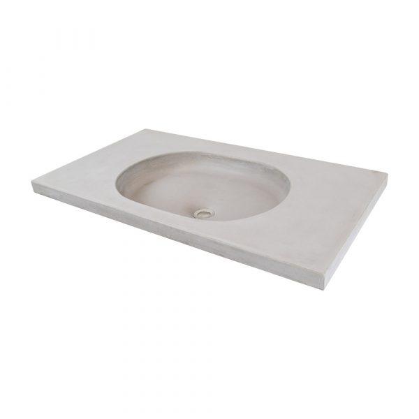 An oval concrete sink set silo image - MARLEE by Concrete Studio