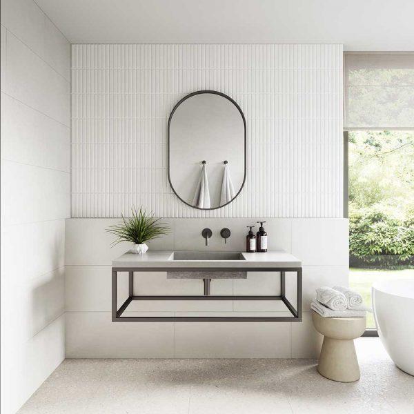 A rectangular concrete sink on a black frame - Baly by Concrete Studio