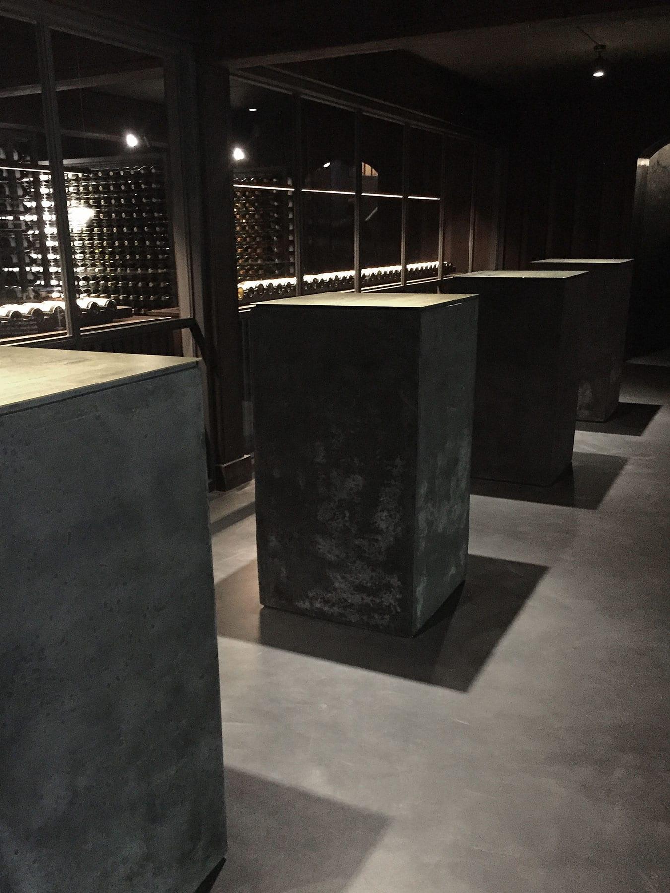 Black Concrete Display Plinths at Vasse Felix - by Concrete Studio
