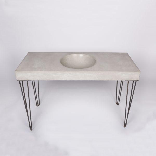 Bowl concrete sink on hairpin legs - front - Bowl by Concrete Studio
