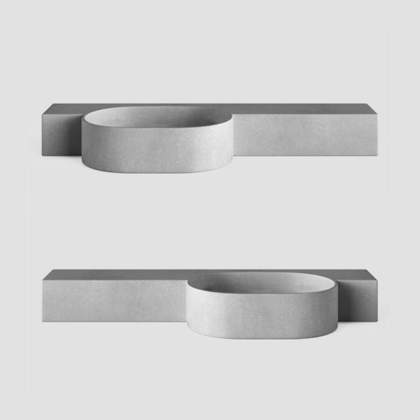 A wall hung concrete basin - with oval shaped offset basin with slim vanity top - Mirro Oval by Concrete Studio