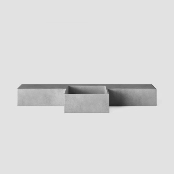 A wall hung concrete basin - with square shaped offset basin with slim vanity top - Mirro Square by Concrete Studio