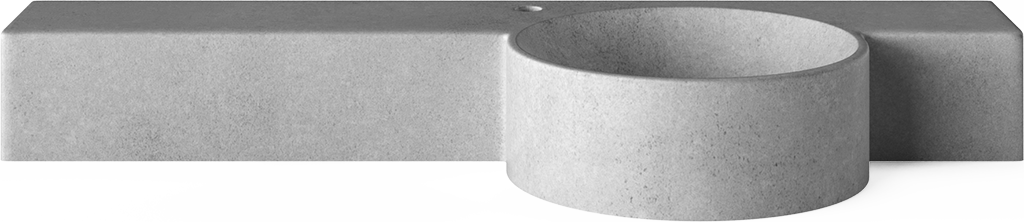 Concrete Cloakroom Basins - Mirro Bowl with tap hole