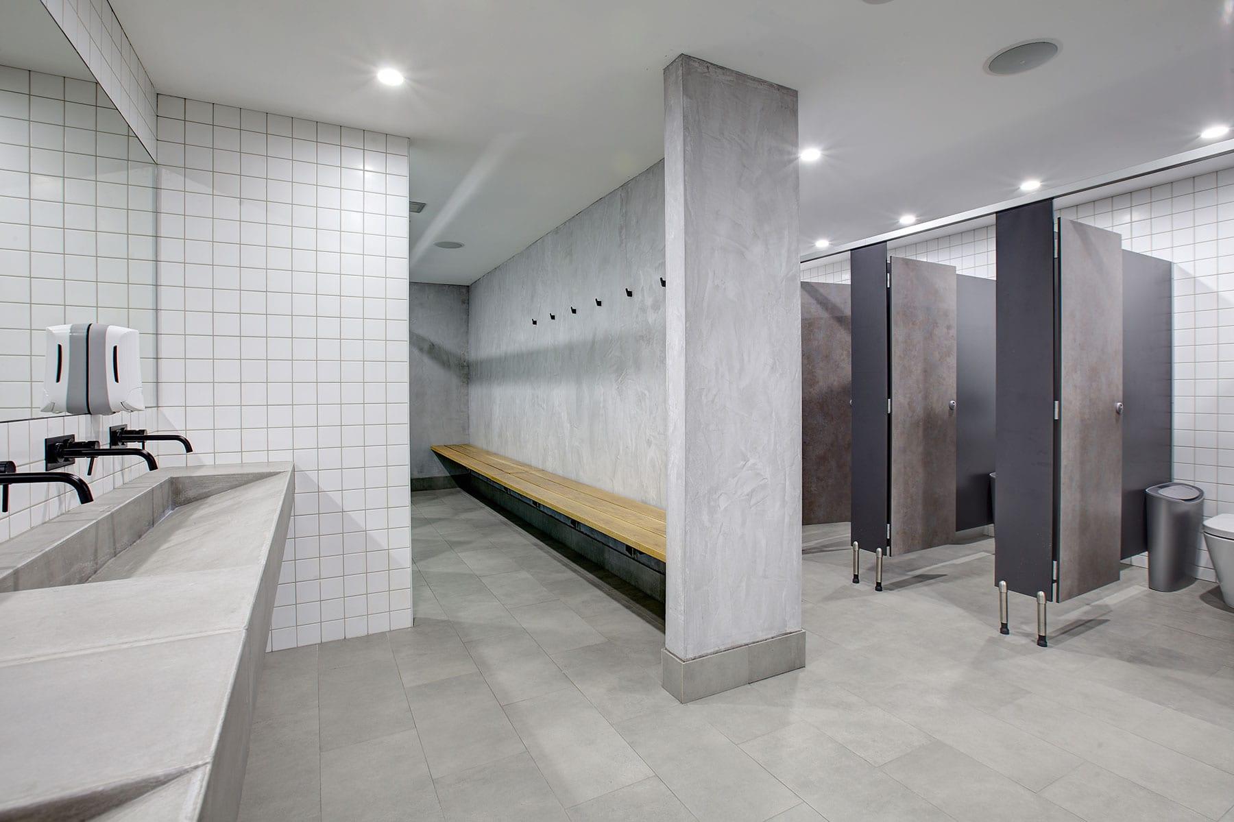 Concrete Ramp Sinks at Tempus Gym - internal view - by Concrete Studio
