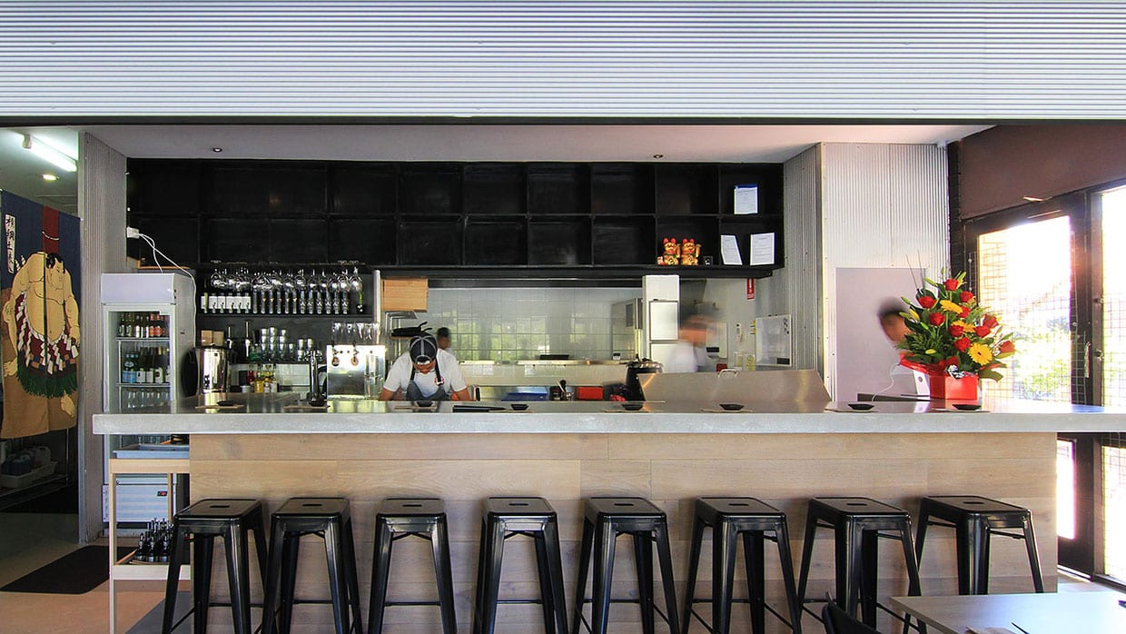 Concrete Sushi Bar - elevation - at The Modern Eatery - By Concrete Studio