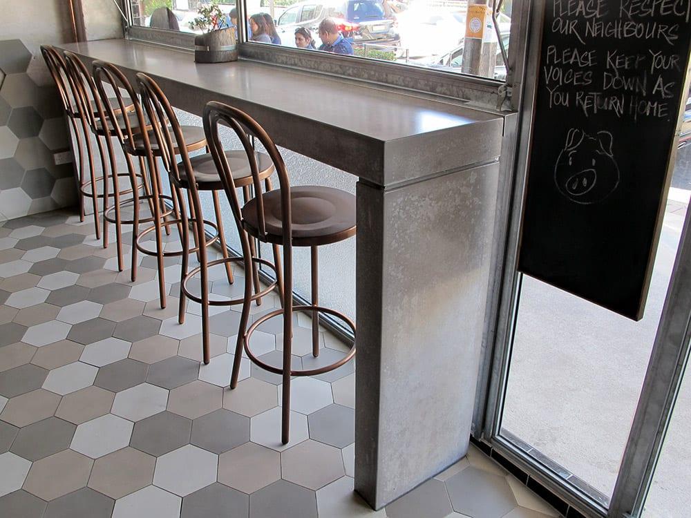 Concrete Table at The Butchers Apprentice Sydney - by Concrete Studio