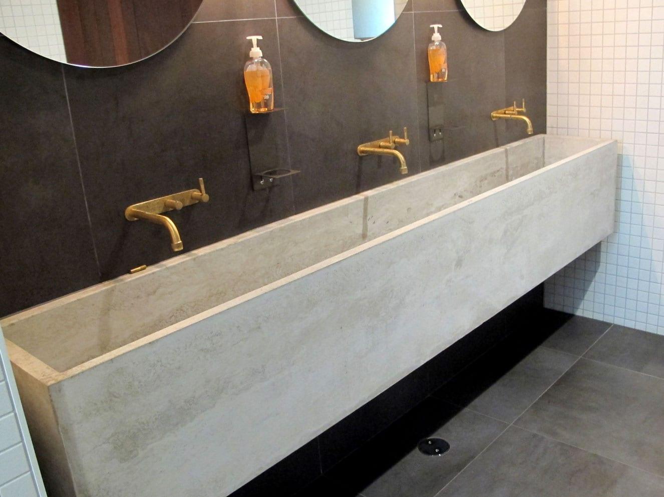 Concrete Trough Sink at Vasse Felix - whole view - by Concrete Studio