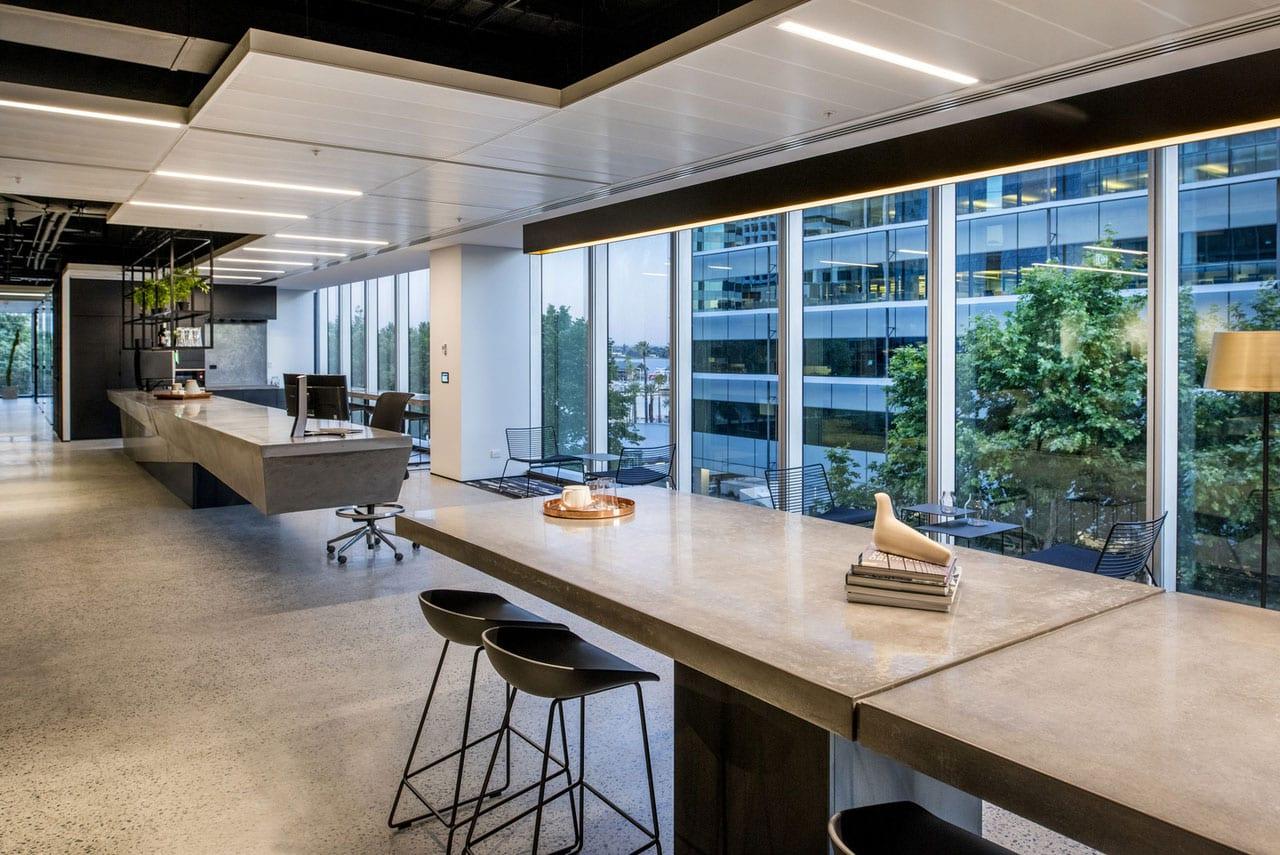 Concrete reception desk and concrete break out table at Brookfield Multiplex - Concrete Studio