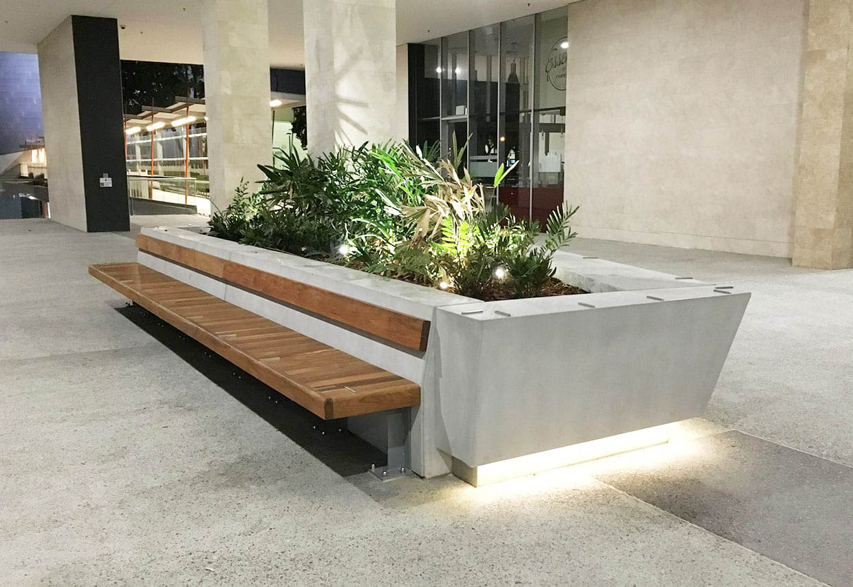 Feature Concrete Planter and Concrete Street Furniture - bench view - at Ernst and Young - by Concrete Studio