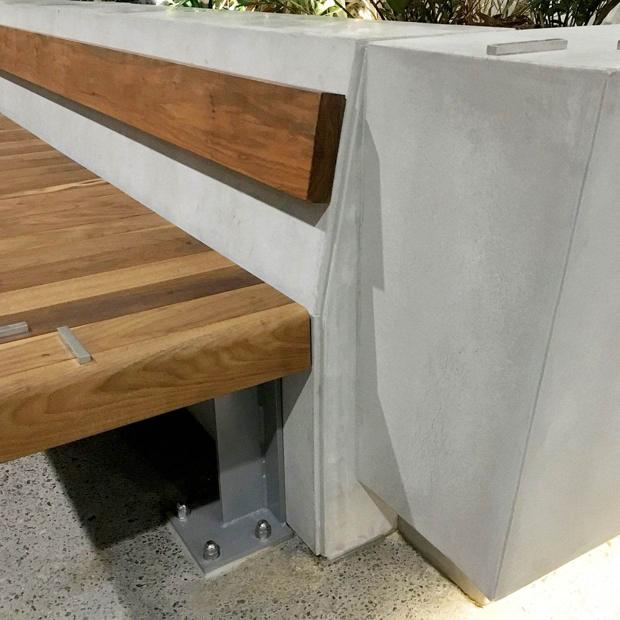 Feature Concrete Planter and Concrete Street Furniture - detail view - at Ernst and Young - by Concrete Studio