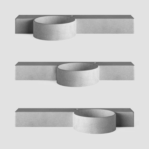 A wall hung concrete basin - with bowl shaped offset basin with slim vanity top - Mirro Bowl by Concrete Studio