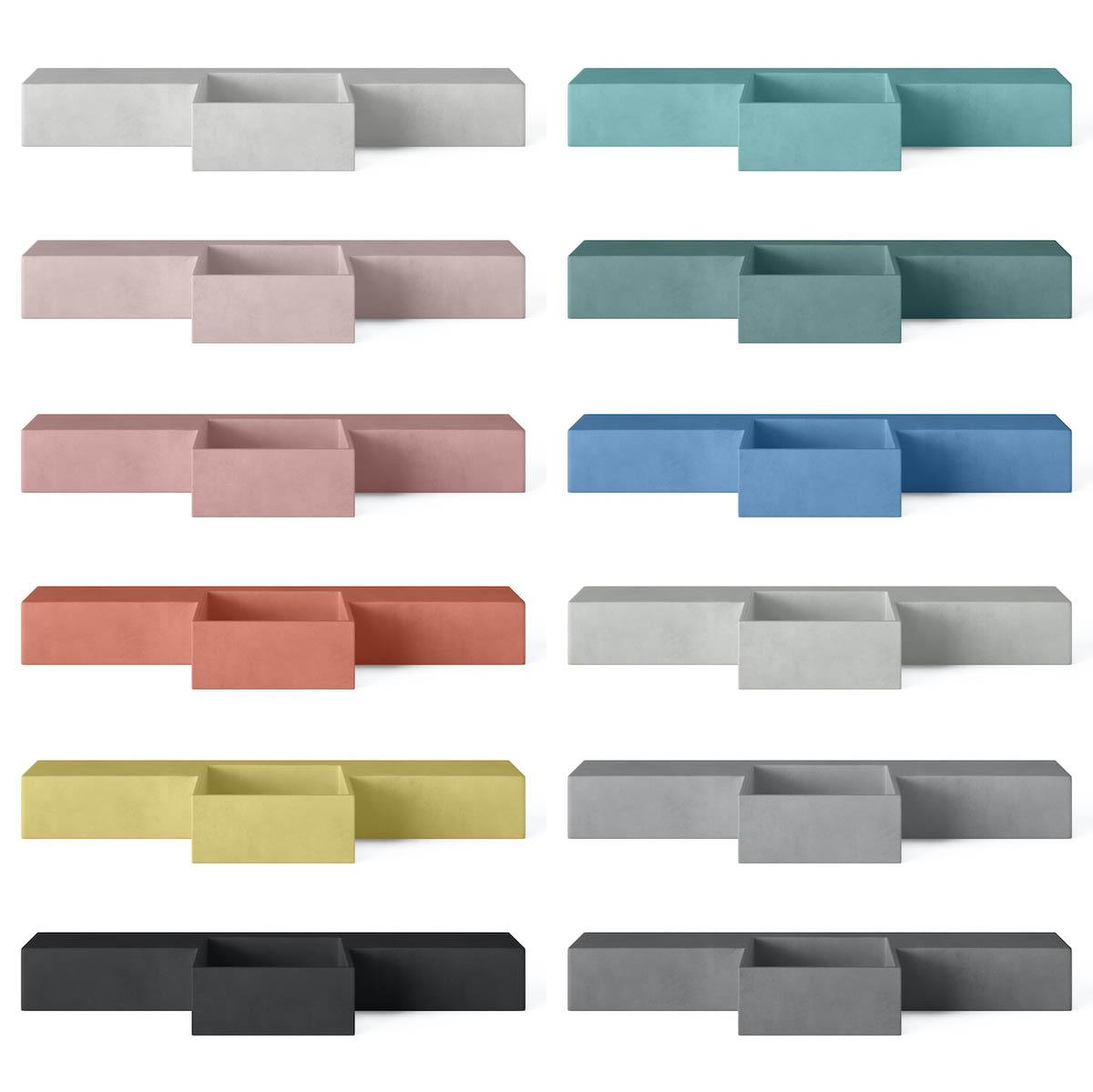 Concrete cloakroom basins in 12 different colours - Mirro Square by Concrete Studio