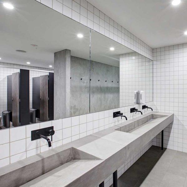 Ramp Sinks in Tempus Gym Sydney by Concrete Studio