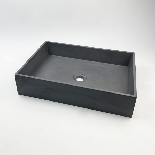 Slab Large Rectangle Concrete Vessel Basin in Dark Grey by Concrete Studio