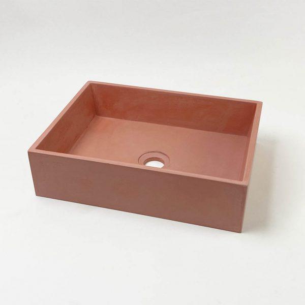 Slab Medium Rectangle Concrete Vessel Basin in Terracotta by Concrete Studio