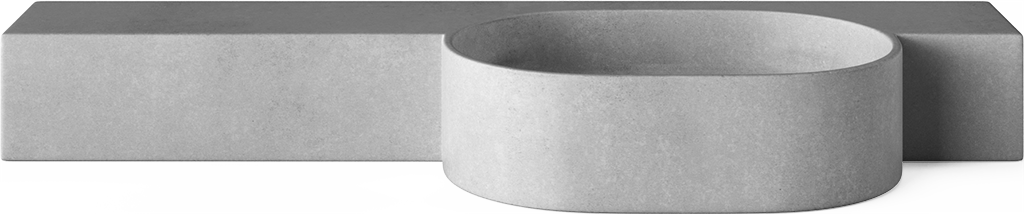 Wall Mounted Concrete Cloakroom Basins - Mirro Oval without tap hole