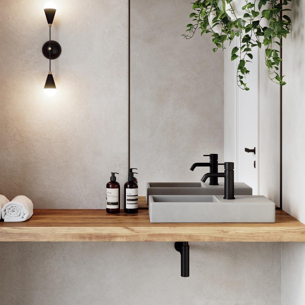 Weerlo cloakroom concrete basin on timber shelf - detail