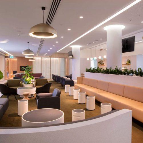 White concrete seats and concrete planters in the Qantas business class lounge - Concrete Studio