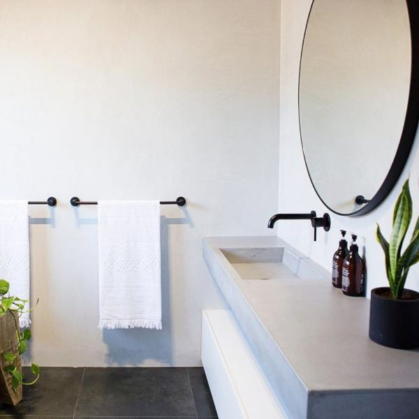 Floating Concrete Basin with Cabinet- Baly by Concrete Studio