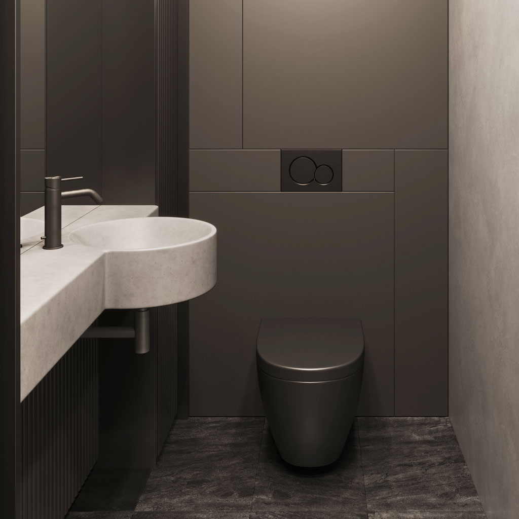 Mirro Wall Mounted Concrete Bains in a dark cloakroom