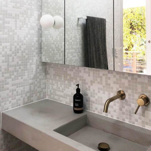 Rectangular Floating Concrete Basin with brass wall taps